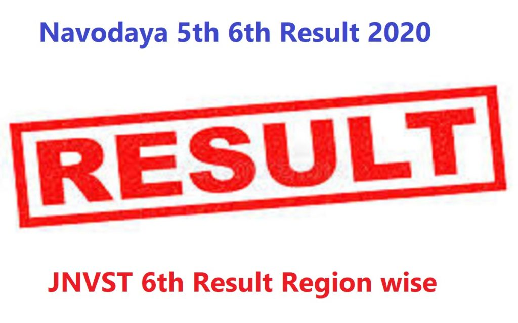 Navodaya 5th 6th Result 2020 JNVST 6th Result Region wise